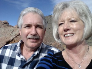 Grammie Debbie & Grandpa Jim...sharing a  mountain top experience; learning the art of taking 'selfies'!