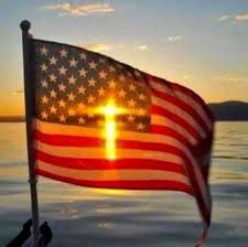 silhouetted flag